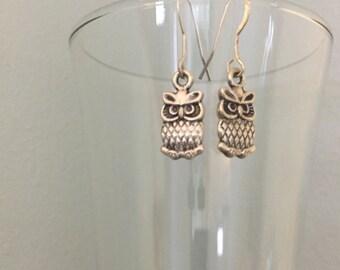 Tiny Owl Dangle Earrings, Adorable