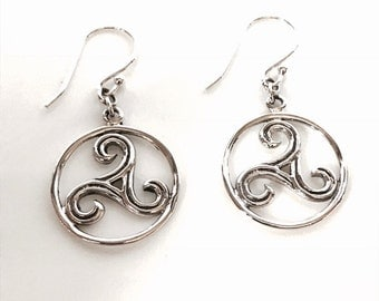 Swirl Circle Sterling Silver Earrings/Handmade/Solid Silver