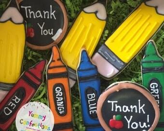 Back to School Cookies; Teacher Gifts; Teacher Appreciation; Pencil; Crayons; Chalkboard; - 1 Dozen (12 Cookies)