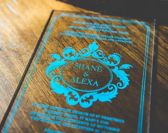 Acrylic Wedding Invitations with Color