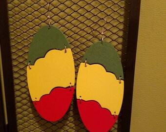 Multicolored Lightweight Oval Shaped Wood Earrings