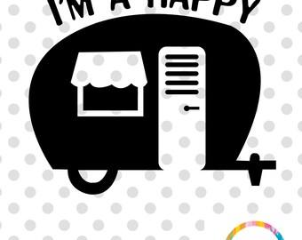 Happy Camper SVG Cuttable File Retro Cutting Cricut