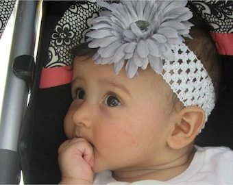 Silver Flower Clip, Headband Set, Silver Daisy Clip, Flower Hair Clip, White Headband, Crochet Headband Set, Removable Hair Clip