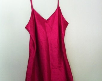Hot pink silk slip dress