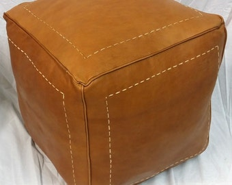 SALE ** STUFFED Square Moroccan Leather pouf Ottoman footstool in Dark Orange
