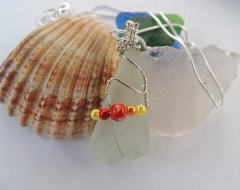 Genuine Scottish Sea Glass Wire Wrapped Necklace
