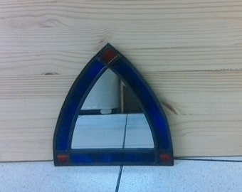 Arched stain glass mirror