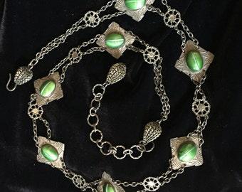 Green Cat eye stones belt