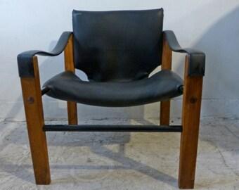 Black Vinyl Safari Chair by Maurice Burke for Arkana Danish Modern Mid-century Modern