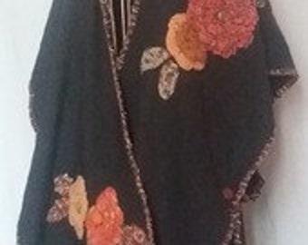 Mantella gabardine with flowers