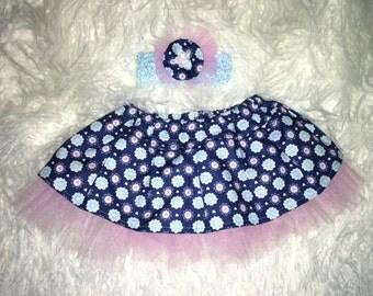 Pink and Blue tutu skirt and headband