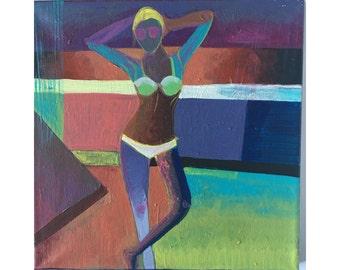 Beach Babe Painting-Beach Figure Painting- Bikini Painting-Contemporary Painting- Modern  Painting- Original Acrylic Painting