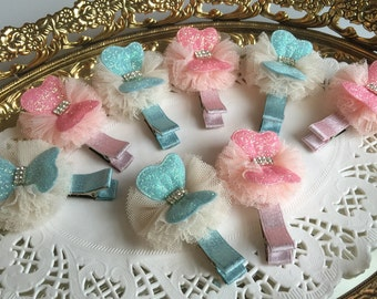 Free gift Girls hair clips with chiffon flower glitter ribbon
