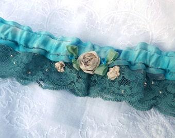 Hand embroidered wedding garter, something blue garter, bridal garter, custom garter