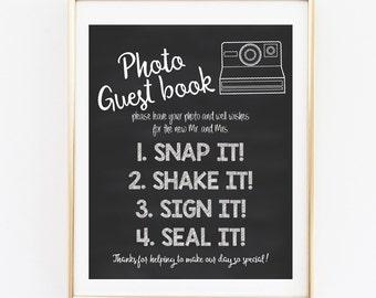 Chalkboard Polaroid Guest Book, Wedding Guest Book, 8x10 INSTANT DOWNLOAD, Wedding Signs, Chalkboard Photo Guest Book, Photo Guest Book