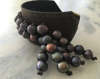 Leather and pearl cuff