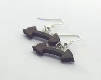 Dumbbell - earrings in precious Pau Ferro Holz