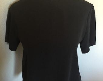 Vintage 90s Black Short Sleeve Blouse