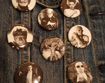 Black and White 8 Universal Monsters, Frankenstein, The Bride, Phantom, Mummy, Werewolf, Invisible Man, Creature, and Dracula 1.25in Button,