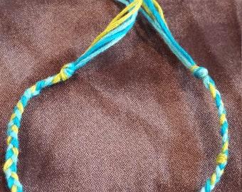 Braided Friendship Bracelet (Blue, Light Blue, Lime Green)