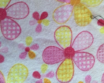 Pink and yellow floral print flannel