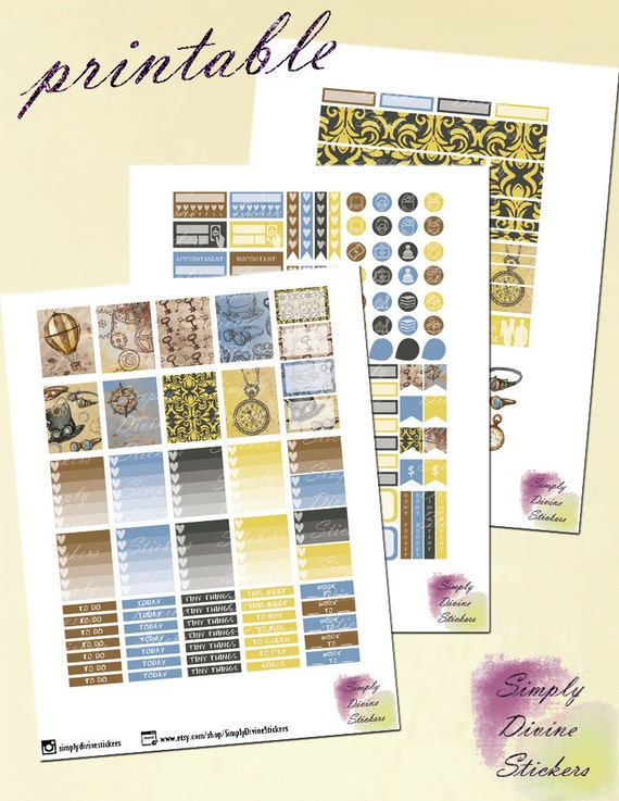 Steampunk Kit/Printable Planner Stickers