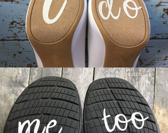 I Do & Me Too-Wedding Shoe Sticker Decal-Something Blue
