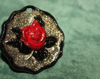 steampunk ring, ring pink motif style steampunk