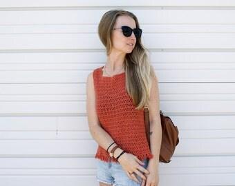 Orange Crochet Tank Top