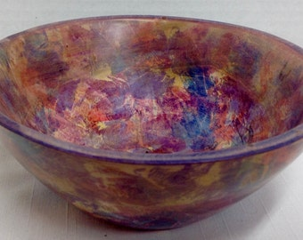 Red - Blue- Green and Yellow Dyed Maple Bowl