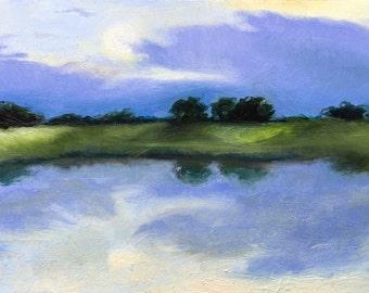 Purple lake original landscape oil painting