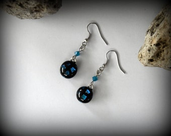 Dichroic earrings with swarovski toupies/earrings/glass jewel