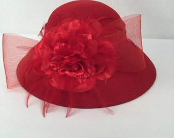 Red Cloche Hat with Bow