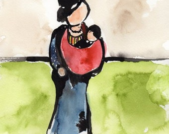 Original Artwork, Painting, Mother and Baby at the Deli, watercolor and ink, matted