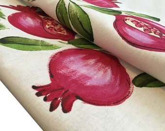 Kitchen tea towel - pomegranate - tea towel - handpainted