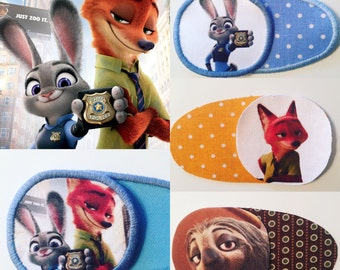 Eye patch for children with Zootopia characters. Judy, Nick, Flash. Patch for treatment of amblyopia, lazy eye, strabismus. Occlusion. Optic