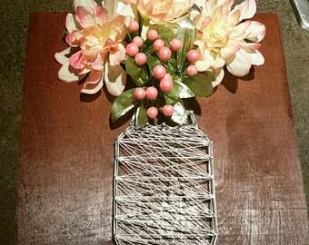 Flower vase nail string art