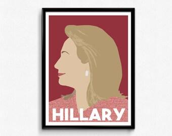 Hillary Clinton Feminist Poster, Minimalist Print
