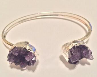 Amethyst Silver Plated Cuff Bracelet