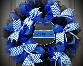 Back the Blue Deco Mesh Wreath