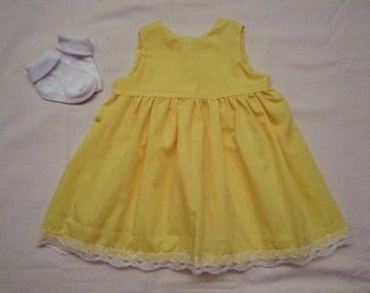Yellow and lace summer dress.