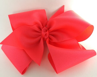 Hairbow-6 1/2 inch solid color bow. Girls hairbow available in alligator clip and french clip, hair bow can attach to toddler, baby headband