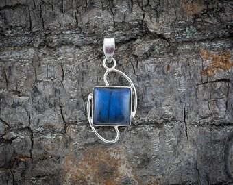 Sterling Silver Labradorite Pendant - Silver Pendant - Handmade Pendant - Silver Jewellery