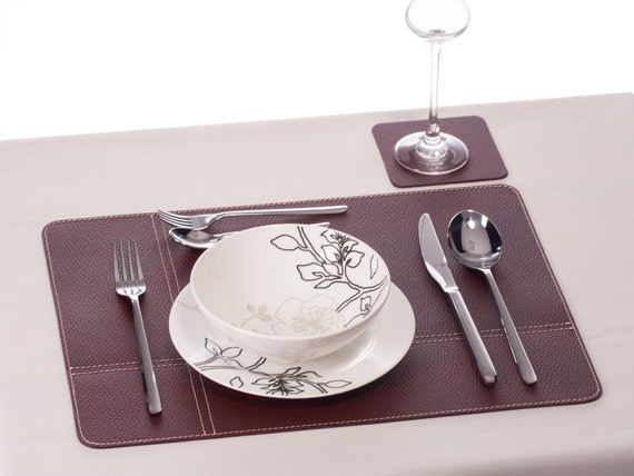 Placemats dining table burgundy table mats and coasters by for Table mats design your own
