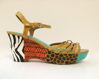 JUNGLE FEVER - Custom, Hand-Painted Wedge Heels - Art a la carte