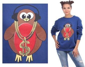 Hip Hop Bird Sweatshirt 1990s Vintage Animal Shirt Bling Bird Headphones Print Jumper SLOUCHY 90s Sweater Vintage Blue Brown Red Large