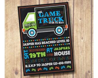 Chalkboard Gamer Birthday Party Invitation; Chalkboard Game Truck Birthday Party Invitation; Gamer Party; Gamer Party Invitation