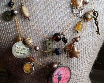 Multi Strand Assemblage Bib Necklace