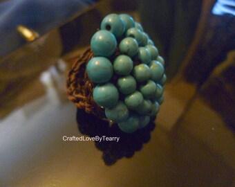Unique genunion turquoises good luck ring