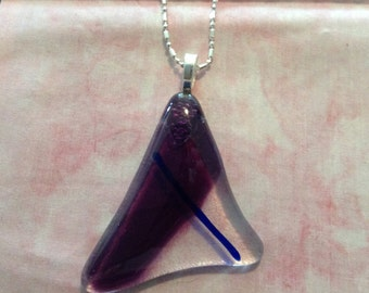 "Fused glass pendent on a 16"" sterling silver necklace"